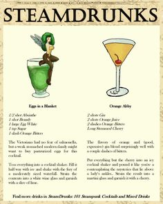 "Try these authentic Steampunk cocktails from the aptly named ""SteamDrunks."""