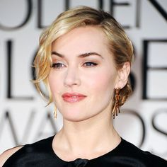 Kate Winslet: Creamy bronze eye shadow and a tousled bun helped Kate Winslet look completely glamorous at the Golden Globes.