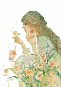 girl with flowers illustration Anime Art Girl, Manga Art, Anime Girls, Art Sketches, Art Drawings, Pics Art, Beautiful Anime Girl, Beautiful Drawings, Art And Illustration