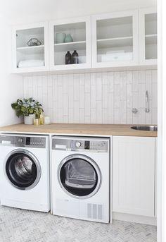 Basin | Clark Herringbone Floor Tiles | Amber Tiles Vertical Subway Tiles | Amber Tiles Three Birds Renos House Five laundry
