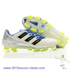 2013 adidas adiPower Predator TRX FG Cleat White Silver Blue For Sale