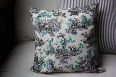 hand painted toile pillow cover