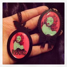 Zombie Pin Up Necklaces! https://www.etsy.com/listing/118594940/zombie-pinup-cameo-necklace?ref=shop_home_active