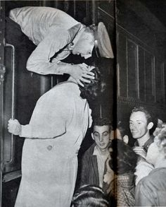 Memphis Central Station,  Saturday, September 20, 1958: As the troop train passed through Private Presley reached out for 18-year-old Jane Wilbanks, a native of New Albany, and kissed her goodbye. She later visited Elvis at the Hotel Grunewald in Bad Nauheim, Germany. Elvis's friend George Klein and Elvis's employee Louis Harris are also pictured in this photo.