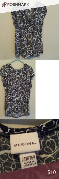 Black and white silky blouse This gorgeous blouse has an interesting  black and white swirl pattern. It has a draping neckline and is very cool. Merona Tops Blouses