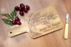 Personalized Cutting Board ~ Memorable wedding gift for couple ~ Unique wedding present, Modern rustic art, Housewarming gift