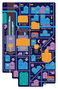 Nightmode Color Inspo _ Alberto Antoniazzi - Map of Kings Cross #map #london
