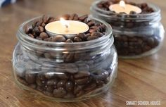 3 DIY Ways to Make Your House Smell Good - simmering potpourri recipe, cinnamon stick candles, and coffee bean tea lights.