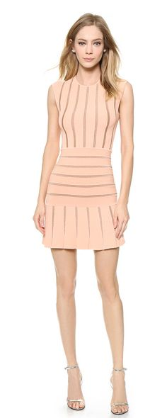 Beth dress by Ronny Kobo. A contoured Ronny Kobo mini dress, styled with raised contrast stripes and a flared skirt. Cap sl...