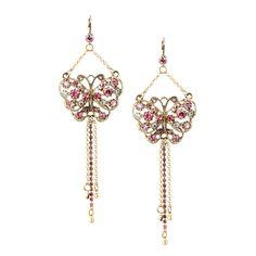 Rhinestone Butterfly Gold Pink White Dangle Statement Earrings