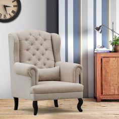 Elmwood Kira Wing Chair with Cushion Beige
