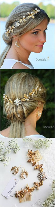 Wedding Hair Piece Bridal headpiece-Gold Leaf Headpiece