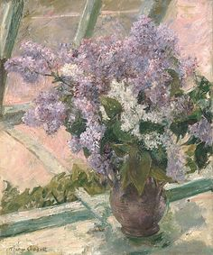 Mary Cassatt (American, 1844–1926). Lilacs in a Window (Vase de Lilas a la Fenetre), ca. 1880–83. The Metropolitan Museum of Art, New York. Partial and Promised Gift of Mr. and Mrs. Douglas Dillon, 1997 (997.207) #spring