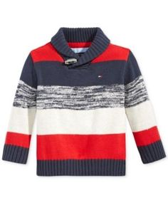 Tommy Hilfiger Baby Boys' Shawl-Collar Colorblocked Sweater - Blue 24 months