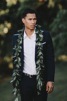 Wedding Trend for Him - Lose the tie, wear a  Maile lei. #hawaiistyle  Look inspired by Joelle Perry Blog