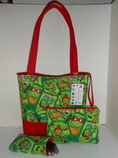 Handmade Handbag Purse Ninja Turtle fabric w/Cosmetic bag & eye case New Large #Handmade #ShoulderBag