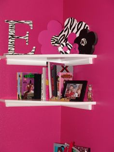 BAD LINK: Pink and Black Teen Zebra Bedroom ::: I like the corner shelving and simple decor:::