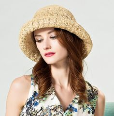 Button modified straw sun hat for 2016 summer womens crimping bucket hats package