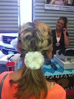 one of our customer wanted to tie her hair back, but didn't want a boring pony tail. this is what we came up with