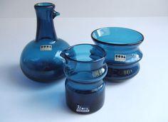 Bertil Vallien for Boda Åfors Bruk - 3 pieces blue decorative glass tableware, 1955-1960 , Sweden. by SCALDESIGN on Etsy