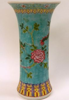 A Chinese Porcelain Trumpet Shaped Vase with a Turquoise Ground and a Dark Green Dragon
