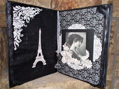 """Altered book! Vintage lady. Black and white. Each book has a story to tell. """"From Paris, with love!"""""""