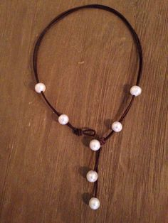 Versatile Pearls and Leather Lariat Necklace - Wear LOTS of Ways!