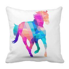 Geometric Horses Throw Pillow  $30.95/ea  #geometric #horses #pillow