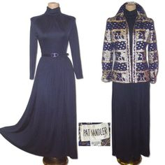 Vintage 1960s PAT SANDLER Full Maxi Dress & Gold Embroidered Jacket Hostess Set 8 $59.99  http://www.etsy.com/listing/89150223/big-sale-vintage-1960s-pat-sandler-full