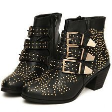 Womens PU Leather Punk Studded Buckle Low Heel Rocker Cowboy Ankle Boots Shoes