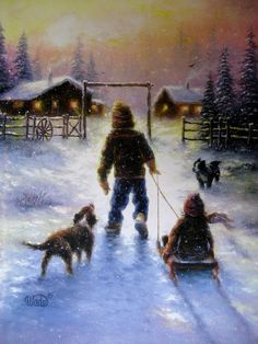 Cocoa Time Art Print snow cabin children sledding brother and sister snow paintings western wall art nostalgic, Vickie Wade art on Etsy, $27.53 CAD