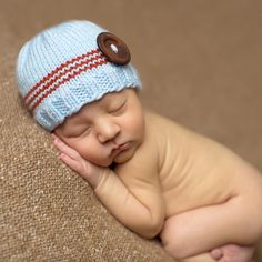 Sky Blue and Rust Striped Baby Boy Beanie with Wooden Button #Melondipity