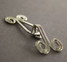 Handmade spiral German silver cardigan clasp or sweater clasp for knit and fabric