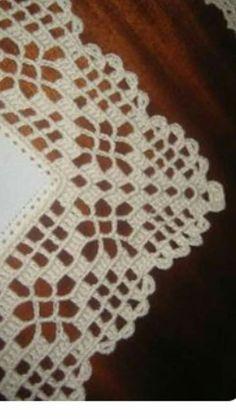 Crochet Boarders, Crochet Lace Edging, Crochet Squares, Crochet Doilies, Tunisian Crochet, Filet Crochet, Crochet Stitches, Crochet Bedspread, Crochet Curtains
