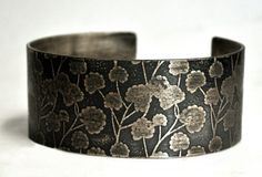 Etched Sterling Silver Cuff Bracelet Nature Leaves Floral