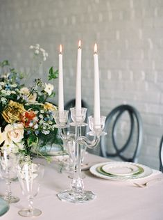 Wedding and Event Lighting : Glass candelabra - Decor Object Elegant Home Decor, Elegant Homes, Dusky Blue Wedding, Glass Candelabra, Event Lighting, Interior Design Inspiration, Decorative Objects, Tablescapes, Wedding Decorations