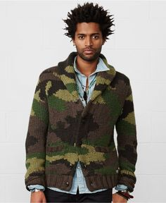 Denim & Supply Ralph Lauren Camo Shawl-Collar Cardigan - Sweaters - Men - Macy's