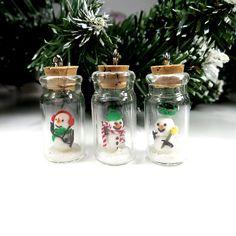 Christmas Gift Snowman in Bottle Snowman Gift Snow Angel Figurine Ornament Miniature Art Clay Xmas Miniature Miniature Decor  Winter Holiday...