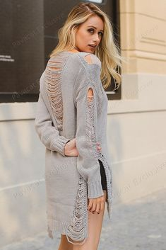Pavacat Decadent City Hollow Out Knitted Pullover. Fall SweatersLong SweatersSweaters  For WomenStretchy ... c9d6cd915