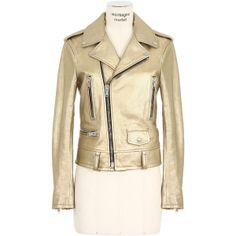 Saint Laurent gold-tone long sleeves metallic leather biker jacket (5,305 CAD) found on Polyvore