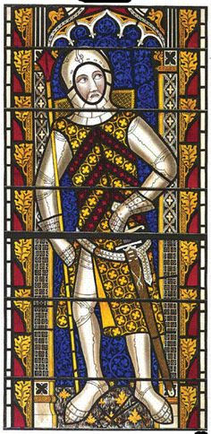 Gilbert II the Red de Clare, Earl of Gloucester wearing the Clare arms ~13th century painted glass, Tewkesbury Abbey. Gilbert married Edward I's daughter Joan Plantagenet (22 ggp).