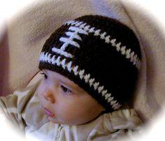 Crochet baby beanie FOOTBALL hat  premie by JACLYNROSEBOUTIQUE