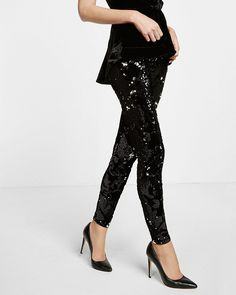 velvet sequin embellished legging