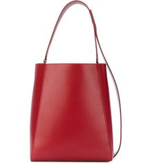 Calvin Klein 205w39nyc Leather Bucket Bag (£1,377) ❤ liked on Polyvore featuring bags, handbags, shoulder bags, red, red leather purse, bucket shoulder bag, genuine leather shoulder bag, red leather handbags and shoulder strap bags