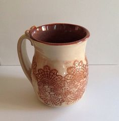 Pottery Coffee Mug with Lace Details on Etsy, $18.00