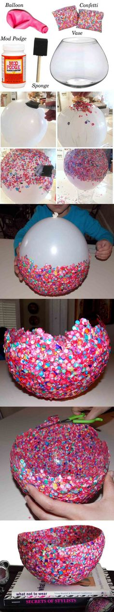 Confetti Balloon Vase would be a pretty pop of color for an Easter Centerpiece ... fill it with grass and goodies or even a votive candle in a glass holder ~ imagine the pretty color glow.