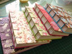 Some pretty washibooks, finished and lined up on my desk. Handmade Notebook, Diy Notebook, Handmade Journals, Handmade Bags, Handmade Bracelets, Book Crafts, Paper Crafts, Book Art, Journal Ideas Smash Book