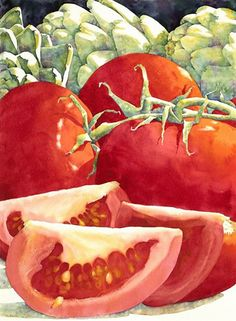 Tomatos - Sue Archer, watercolor {contemporary art still life fruit painting}