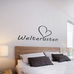 welterusten-muursticker-boven-bed-slaapkamer-zwart-wit Bedroom Black, Room, Interior, Interior Inspiration, Home Decor Decals, Bedroom Decor For Couples, Living Room Diy, Home Decor, Bedroom