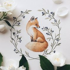 Animal art fox inspiration New ideas Cute Drawings, Animal Drawings, Art Floral, Floral Flowers, Art Fox, Art Amour, Wreath Drawing, Art Et Illustration, Flower Wreath Illustration